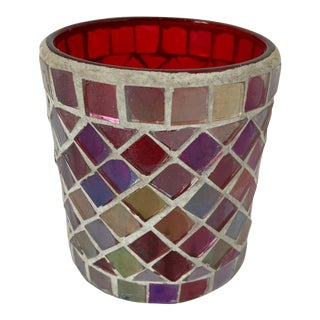 Votive Candleholder with Mirrored Glass and Red Moorish Design For Sale