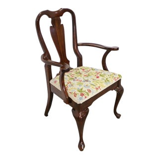 Vintage Queen Anne Cherry Floral Dining Arm Chair For Sale