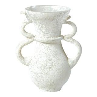 White Seguso 1960s Scavo-Style Mini Murano Glass Vase For Sale