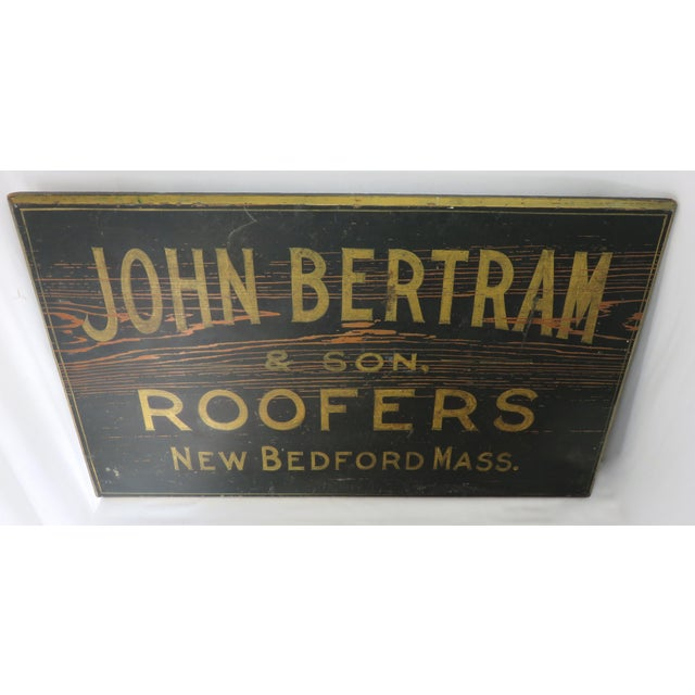 1920s Antique Wood New Bedford Mass. Roofers Sign For Sale - Image 5 of 13