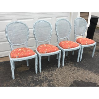 1970s Vintage Hollywood Regency Carved Rope Chairs - Set of 4 Preview