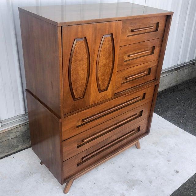1960s Mid-Century Modern Sliding Front Highboy Dresser For Sale - Image 5 of 13