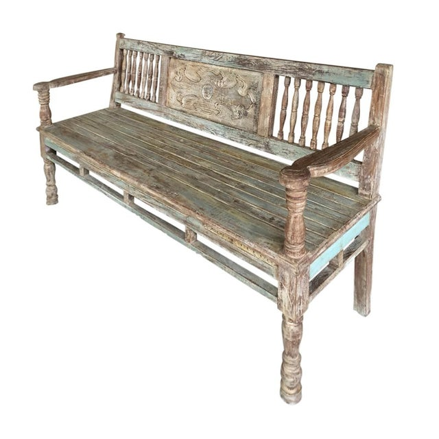 Reconstructed Carved Teak Bench - Image 2 of 2