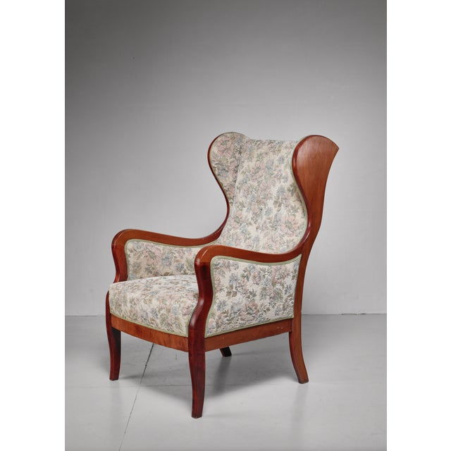 1940s Frits Henningsen Wingback Lounge Chair, Denmark, 1940s For Sale - Image 5 of 5