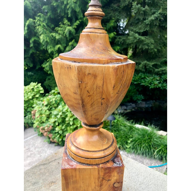 Antique Hand Carved Walnut Urn Table Lamp For Sale - Image 4 of 9