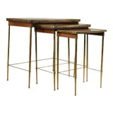 Image of Brass & Wood Nesting Tables - Set of 3 For Sale