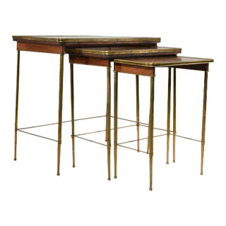 Brass & Wood Nesting Tables - Set of 3 For Sale