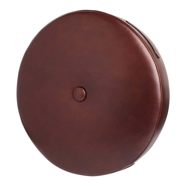 Leather Drum Stacking Cushion in Brown by Moses Nadel For Sale
