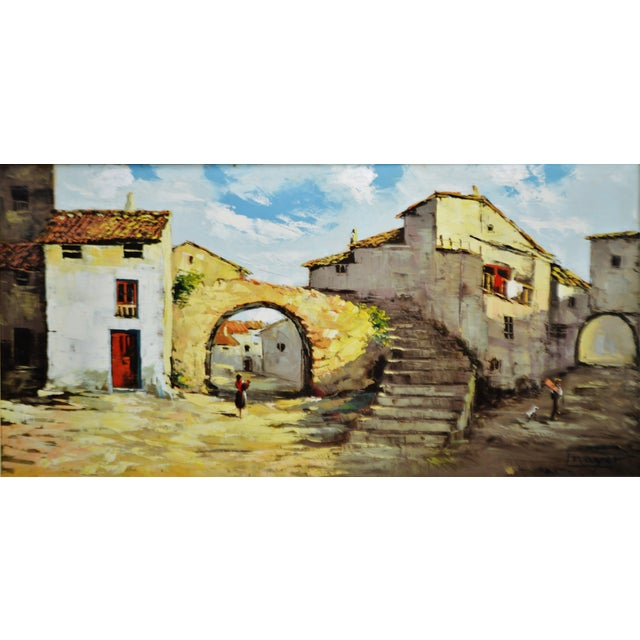 """Large European village scene framed oil painting on canvas signed Mayor. Approximate Frame Dimensions: 44"""" wide x 24"""" high..."""