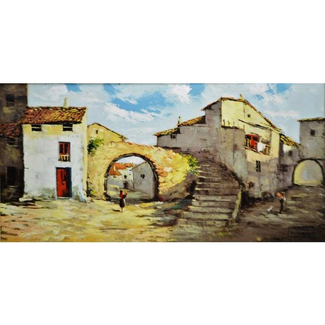 Framed European Village Scene Oil Painting - Image 2 of 11