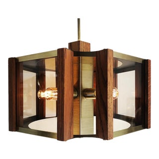 Vintage Hexagonal Brass Smoked Glass and Wood Chandelier by Fredrick Ramond For Sale