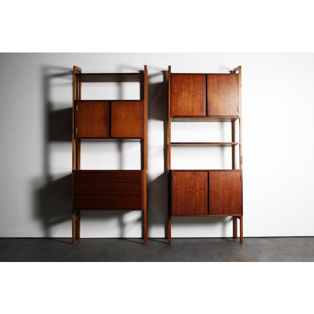Yugoslavian Mid-Century Teak Wall Units - A Pair For Sale In Orlando - Image 6 of 9