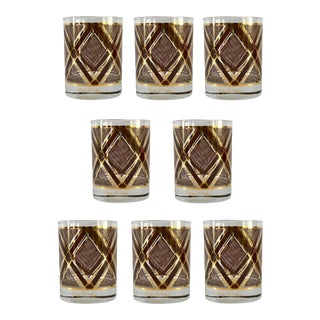 Georges Briard Brown and Gold Glasses - Set of 8 For Sale