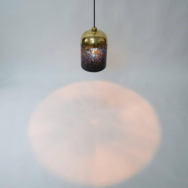 Metal Pair Murano Glass and Brass pendants, circa 1970 For Sale - Image 7 of 8