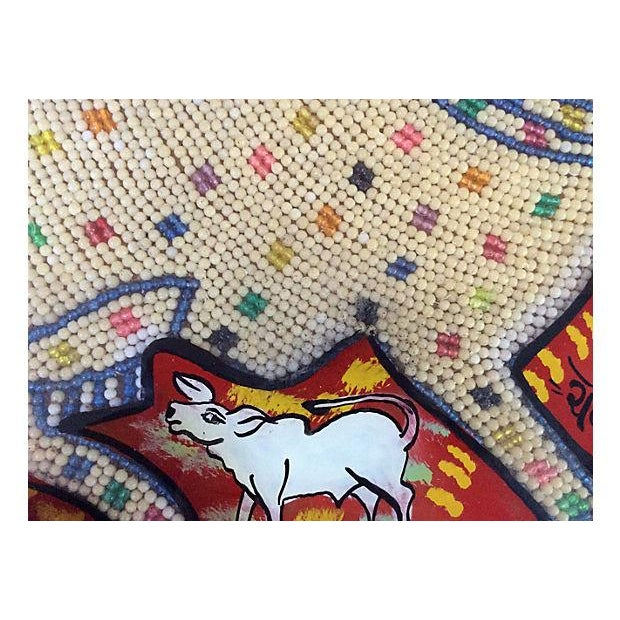 Beaded Indian Églomisé Cow Painting - Image 6 of 7