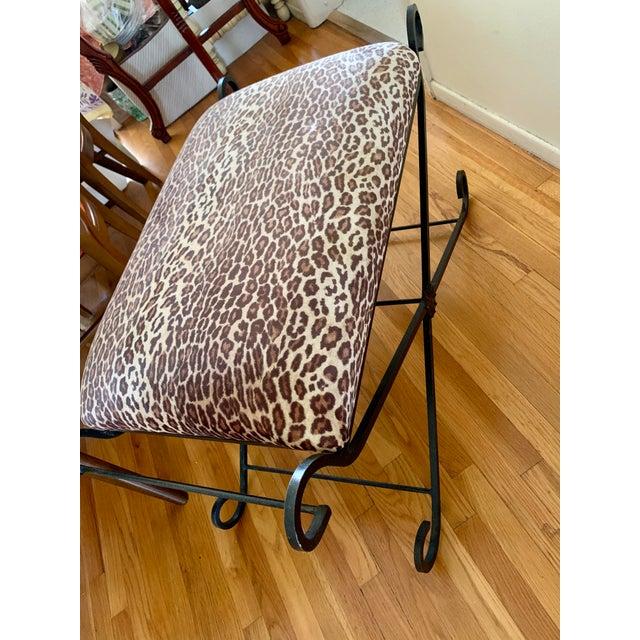 1990s Vintage Leopard Velvet Black Iron Bench For Sale - Image 10 of 13
