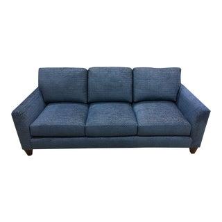 Transitional Blue Upholstered Walnut Sofa