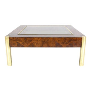 Burl Wood Brass Glass Top Square Coffee Table