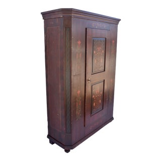 Pine Folk Art Painted Wardrobe For Sale