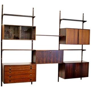 Mid-Century Modern Rosewood Shelving Wall Unit Five-Drawer Seven-Shelf