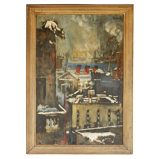 1940s Oil Painting of Bear Overlooking Shipyard For Sale - Image 9 of 9