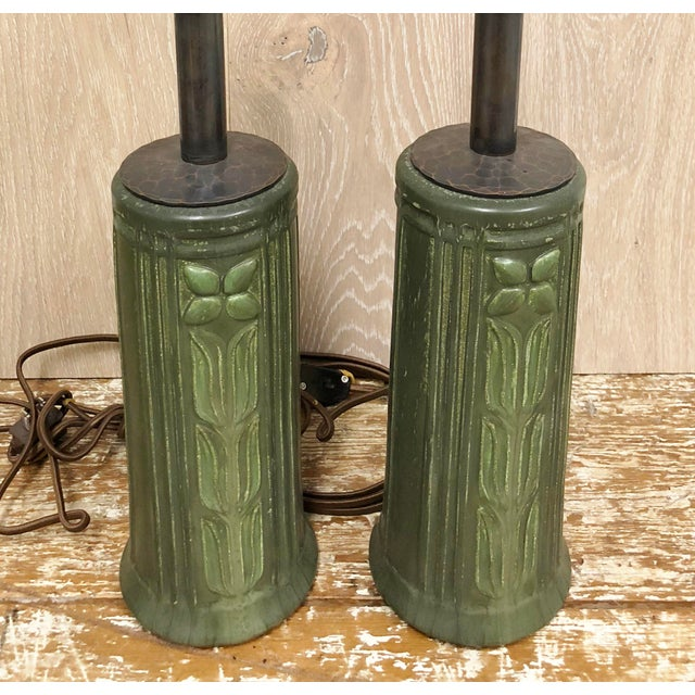 Pair of Arts and Craft Green Vintage Ceramic Bases Table lamps, Custom Wired and Shades By Paul Ferrante, Metal in...