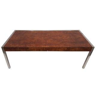 Pace Burl Wood and Chrome Pencil Desk Partner Desk For Sale