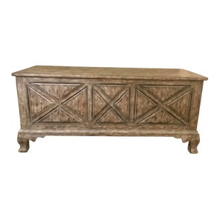 Rustic Gray Washed Storage Bench For Sale