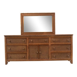 Late 20th Century Vintage Henry Link Nine Drawer Dresser & Mirror For Sale