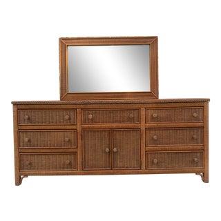 Wicker Dresser With Mirror For Sale