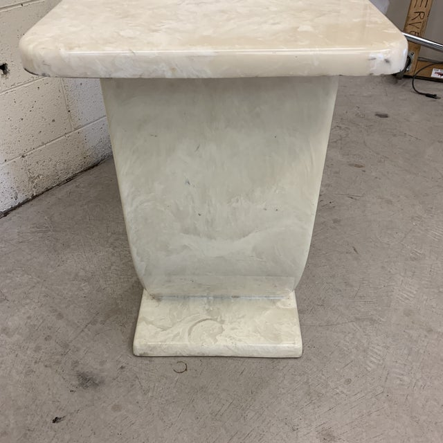 White Cultured Marble Console Table For Sale - Image 8 of 11