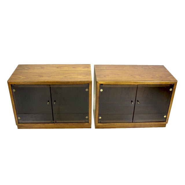 Mid-Century Walnut Cabinets - a Pair For Sale