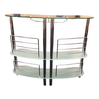 Modern Glass and Chrome Bar For Sale