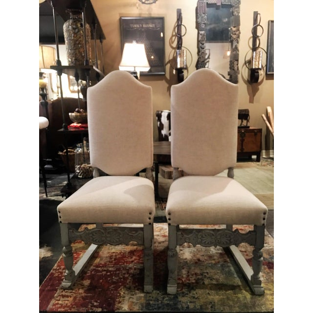 These gorgeous antique French dining chairs were acquired at the Antique Flea market in Bordeaux, France in April 2015....