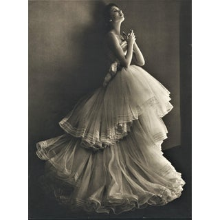 Matted 1950 Fashion Photography Print-Couture Dior Ballgown With Documentation For Sale