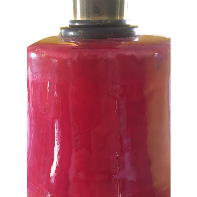 Mid-Century Red Glazed Ceramic Lamp - Image 6 of 9