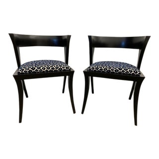 Pair of Vintage Modernist Barrel Back Chairs Leopard Fabric For Sale