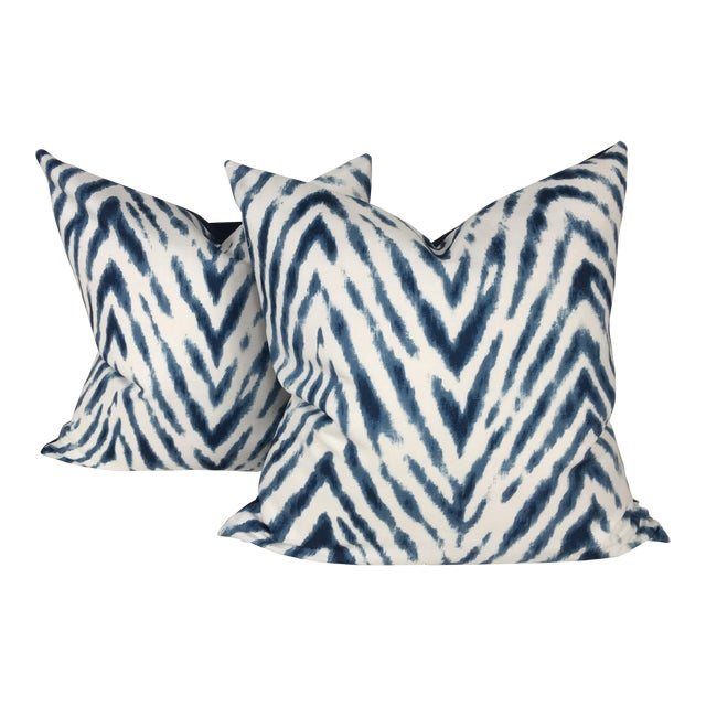 Large Flame Stitch White & Blue Pillows – a Pair For Sale