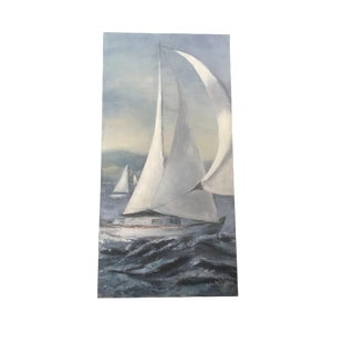 Seascape Blue Sailboat Watercolor Painting - Signed Original For Sale