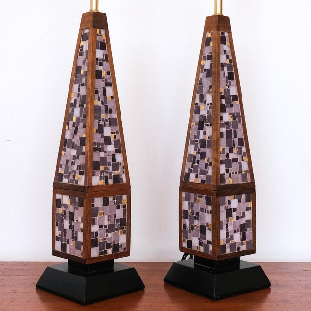 A pair of substantial mosaic lamps. Walnut with Italian glass mosaic. Rewired.
