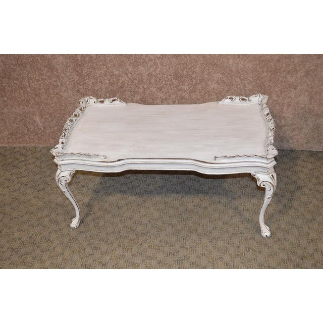 Vintage Carved Mahogany Shabby Cottage Chic Cocktail Table For Sale In Philadelphia - Image 6 of 13