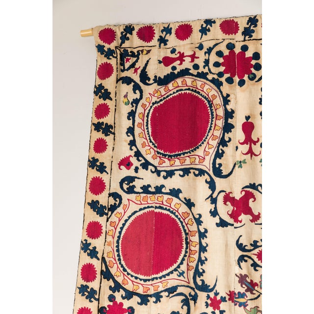 Boho Chic Antique Hand Embroidered Suzani Textile For Sale - Image 3 of 6