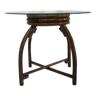 Round Beveled Glass Top Rattan Table For Sale
