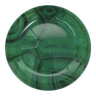 Green Malachite Glass Centerpiece Bowl With Gold Greek-Key Design For Sale