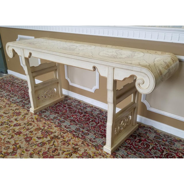1980s Drexel Heritage White Asian Ming Alter Console Table For Sale - Image 10 of 10