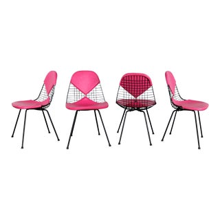 4 Dkx-2 Wire Bikini Shell Chairs W/ X Bases & Hot Pink Bikinis by Eames for Herman Miller For Sale