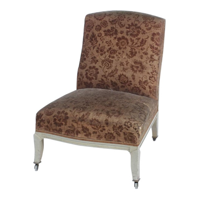 Floral Upholstered Low Side Chair Napoleon III For Sale