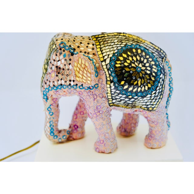 Vintage hand-beaded & embroidered pink Indian elephant lamp. In great working condition. Circa 1960's