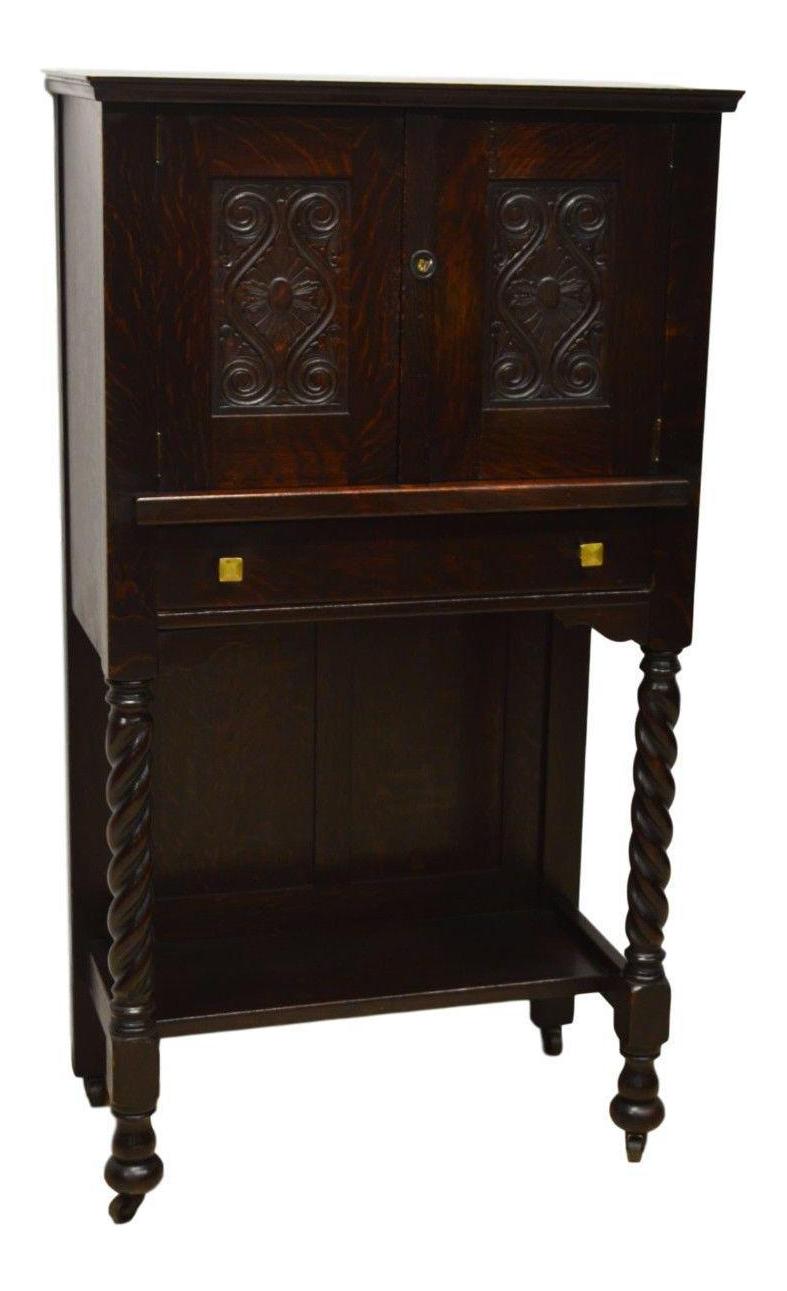 Antique Mission Style Oak Liquor Cabinet