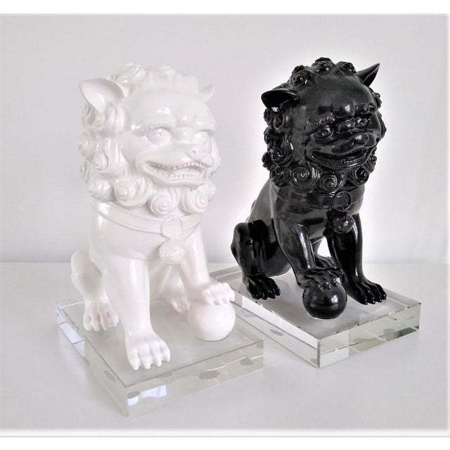 Ceramic Vintage Foo Dogs on Lucite Bases - Pair For Sale - Image 12 of 13